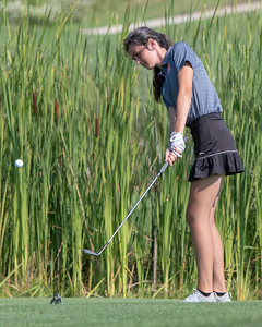McHenry High School's Sarah Fergus chips onto the green at the Marian Central Girls Golf Invitational Thursday, August 9, 2018 held at the Boone Creek Golf Club in Bull Valley. KKoontz – For Shaw Media