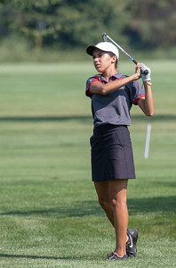 Huntley High School's Nina Shaffer plays from the fairway at the Marian Central Girls Golf Invitational Thursday, August 9, 2018 held at the Boone Creek Golf Club in Bull Valley. KKoontz – For Shaw Media