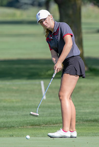 Huntley High School's Maggie Matustik finishes tied for fifth with an 85 at the Marian Central Girls Golf Invitational Thursday, August 9, 2018 held at the Boone Creek Golf Club in Bull Valley. KKoontz – For Shaw Media