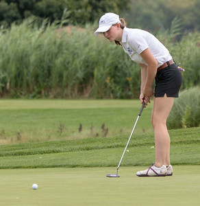 Johnsburg High School's Ceara Mulvey lips a putt at the Marian Central Girls Golf Invitational Thursday, August 9, 2018 held at the Boone Creek Golf Club in Bull Valley. KKoontz – For Shaw Media