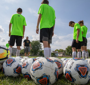 Crystal Lake South Head Soccer Coach Brian Allen  during practice Thursday, August 16, 2018 in Crystal Lake. KKoontz – For Shaw Media