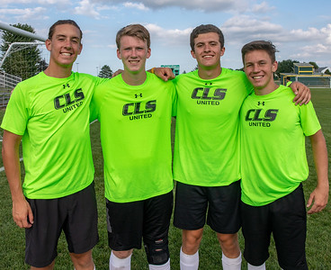 Crystal Lake seniors (L-R) John Wruck, Brad Grabowski, Nicholas Langdon, and Ryan Coughlin have high expectations this year after winning a regional championship last year. A quick group photo was in order after practice Thursday, August 16, 2018 in Crystal Lake. KKoontz – For Shaw Media