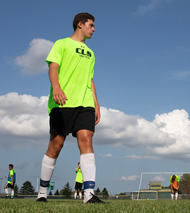 Crystal Lake senior Nicholas Langdon waits for the next practice drill to begin Thursday, August 16, 2018 in Crystal Lake. KKoontz – For Shaw Media