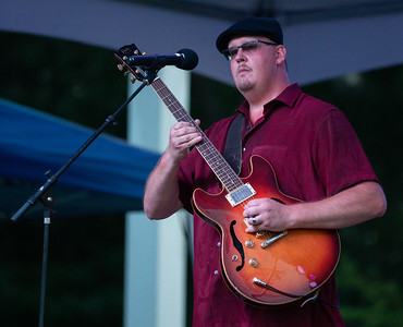 "Chicago Blues Hall of Fame inductee ""Big Dog"" Mercer and his band plays at the annual Blues, Brews, and BBQ Friday, August 17, 2018 at Peterson Park in McHenry. KKoontz – For Shaw Media"