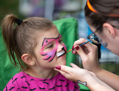 Gemma Luebke (5yrs) from Woodstock get her face painted at the 4th annual Bark-a-Paw-Looza in the Woodstock Square, Sunday, August 19, 2018.   KKoontz – for Shaw Media