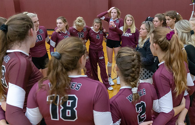 Prairie Ridge Head Coach Stefanie Otto talks with her team during a timeout Tuesday, August 21, 2018 in Prairie Grove. PR went on to win the conference season opener 25-17 and 25-15 over Crystal Lake South. KKoontz – For Shaw Media