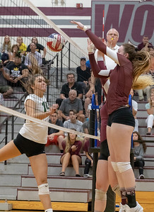 Prairie Ridge senior Samantha Lockwood was dominate up front against Crystal Lake South Tuesday, August 21, 2018 in Prairie Grove. Prairie Ridge takes the season opener 25-17 and 25-15. KKoontz – For Shaw Media