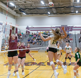 Crystal Lake South senior Megan House goes up high against a tough Prairie Ridge team Tuesday, August 21, 2018 in Prairie Grove. Prairie went onto win the season opener 25-17 and 25-15. KKoontz – For Shaw Media