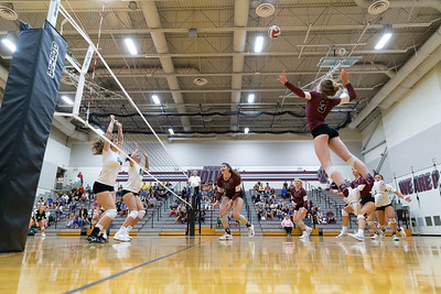 Prairie Ridge's Hannah Baudin sets up to deliver a spike Tuesday, August 21, 2018 against Crystal Lake South in Prairie Grove.  Prairie Ridge takes the season opener   KKoontz – For Shaw Media