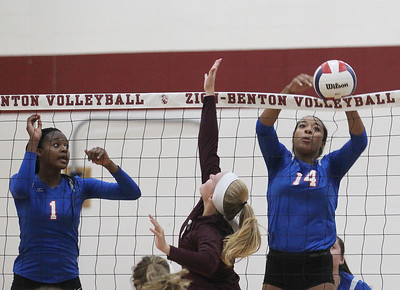 Candace H. Johnson-For Shaw Media Lakes Paula Ceneac watches her sister Paule (#14) tip the ball past Zion-Benton's Morgan Moeller in the first game at Zion-Benton Township High School in Zion. Lakes won 25-16, 25-13. (8/20/18)