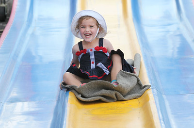 Candace H. Johnson-For Shaw Media Ella Worden, 3, of Grayslake goes down the Fun Slide during Grayslake Summer Days in downtown Grayslake. The event was sponsored by the Grayslake Chamber of Commerce & Industry. (8/18/18)