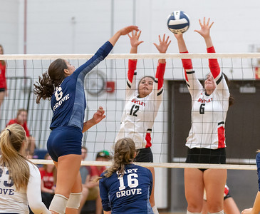 Cary-Grove's Evynn Layshock drives the ball through the Huntley defense Thursday, August 23, 2018 in Cary. Huntley took the win in three sets.  KKoontz – For Shaw Media