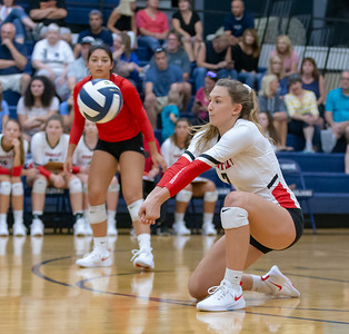 Huntley's Julia Johnson digs out a serve Thursday, August 23, 2018 in Cary. Johnson finished with 14 kills in Huntley's three set victory over Cary-Grove. KKoontz – For Shaw Media