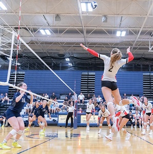 Huntley's Julia Johnson flies high Thursday, August 23, 2018 in Cary. Johnson finished with 14 kills in Huntley's three set victory over Cary-Grove. KKoontz – For Shaw Media