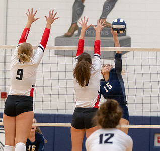 Cary-Grove sophomore Jenna Splitt redirects the ball Thursday, August 23, 2018 in Cary. Huntley took the win in three sets.  KKoontz – For Shaw Media