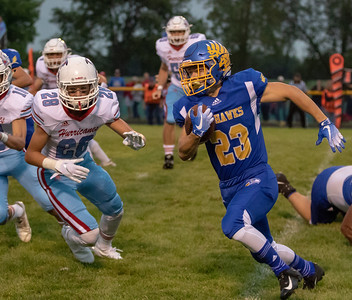 Johnsburg running back Jacob McKinney heads up field Friday, August 24, 2018 against Marion Central Catholic in Johnsburg. Marion Central went on to win the game 14-13. KKoontz – For Shaw Media