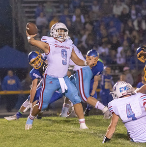 Johnsburg quarterback Alec Smith drops back to pass Friday, August 24, 2018 against Marion Central Catholic in Johnsburg. Marion Central went on to win the game 14-13. KKoontz – For Shaw Media