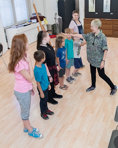 Donna Dickinson, owner of Dickinson's Little Vaudeville, teaches a vaudeville routine to her students Saturday, August 25, 2018 at the Opera House in Woodstock.  KKoontz – For Shaw Media
