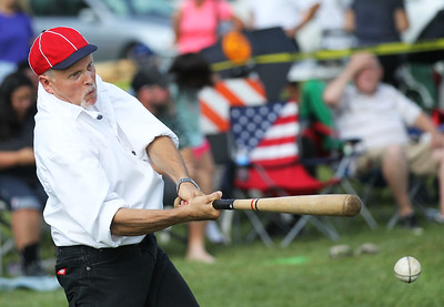 "Candace H. Johnson-For Shaw Media McHenry County Independants Kurt Begalka, ""Scoop,"" of Harvard connects on a pitch against the Grayslake Athletics during the 8th Annual Vintage Baseball Match in Central Park in Grayslake. The game was sponsored by the Grayslake Heritage Center & Museum.(8/25/18)"