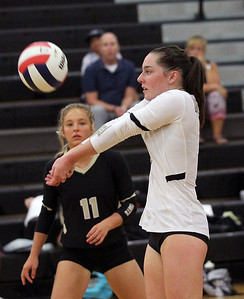 Candace H. Johnson-For Shaw Media Grayslake North's Faith Standerski watches Lexie Baker pass the ball against Johnsburg in the third game at Grayslake North High School in Grayslake. Grayslake North won 24-26, 25-20, 25-18. (8/28/18)