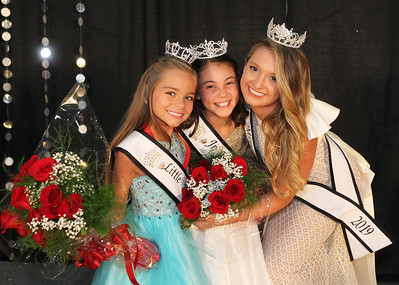Candace H. Johnson-For Shaw Media Newly crowned 2019 Lake County Fair Queens Jayla Wascow, 8, of Vernon Hills, Darby Leetch, 11, of Round Lake and Samantha Pokorny, 20, of Antioch come together for the first time after the Little & Jr. Miss Lake County Fair Queen Pageant during the Lake County Fair at the Lake County Fairgrounds in Grayslake. (7/25-7/28/19)