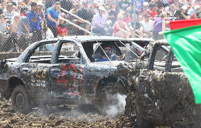 Candace H. Johnson-For Shaw Media Kevin McKevett competes in the Full Size division for the Total Destruction Sunday Demolition Derby during the Lake County Fair at the Lake County Fairgrounds in Grayslake. (7/25-7/28/19)