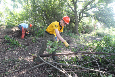 Candace H. Johnson-For Shaw Media Harvey Lingao, 19, of Round Lake Beach and Charles Fladhammer, 18, of Wauconda work on cutting down buckthorn trees during a Youth Conservation Corps 2019 project at the Nippersink Forest Preserve on Route 120 in Round Lake. (7/25/19)