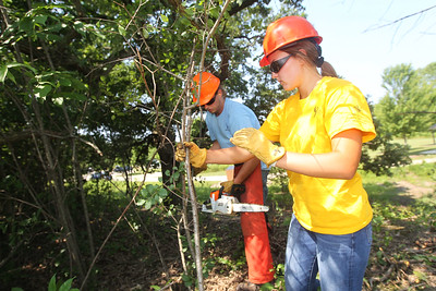 Candace H. Johnson-For Shaw Media Noah Zilligen, 22, of Lindenhurst and Shannon Grobelny, 18, of Wauconda work on cutting down buckthorn trees during a Youth Conservation Corps 2019 project at the Nippersink Forest Preserve on Route 120 in Round Lake. (7/25/19)