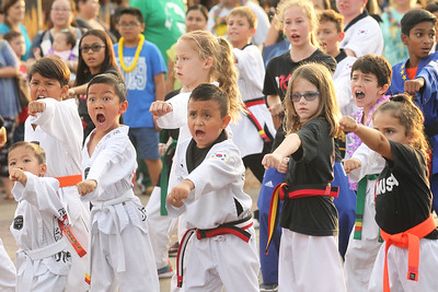 Candace H. Johnson-For Shaw Media Dragon K Martial Arts students show off their Taekwondo skills during the Grayslake Summer Days Parade in downtown Grayslake. (8/17/19)