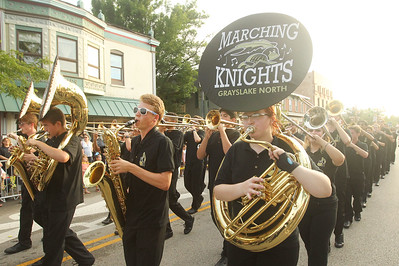 Candace H. Johnson-For Shaw Media The Grayslake North Marching Knights make their way down Center Street during the Grayslake Summer Days Parade in downtown Grayslake. (8/17/19)