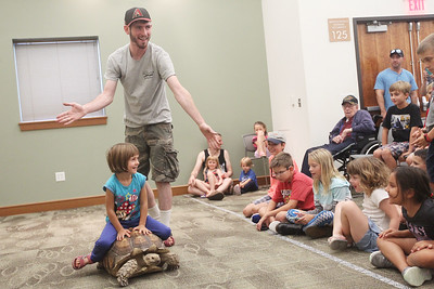 Candace H. Johnson-For Shaw Media Brendan Baker, entertainer/educator, lets Emily Molnar, 5, of Ingleside ride on an African tortoise during the Dave DiNaso's Traveling World of Reptiles show at the Fox Lake District Library. (8/24/19)