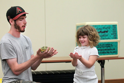 Candace H. Johnson-For Shaw Media Brendan Baker, entertainer/educator, lets Gwen Whitaker, 5, of McHenry hold an African pixie frog during the Dave DiNaso's Traveling World of Reptiles show at the Fox Lake District Library. (8/24/19)