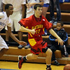 Jeff Krage -- For the Kane County Chronicle<br /> Batavia's Jeremy Schoessling heads up the court during Saturday's game at Larkin.<br /> Elgin 12/8/12