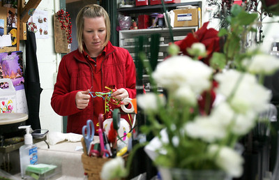 Monica Maschak - mmaschak@shawmedia.com Designer Amanda Nicolai curls ribbons for a birthday arrangement she is designing at the Countryside Flower shop in Crystal Lake on Tuesday, December 11, 2012.