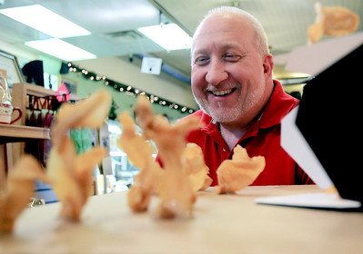 Sarah Nader - snader@shawmedia.com Rocco Gailloreto, owner of Flatlander Market in Marengo looks at the nativity scene he made entirely out of his stores homemade potato chips on Tuesday, December 11, 2012. It took Gailloreto nearly two days to collect the perfect potato chip pieces for the nativity scene and then he used a potato chip box as the stable.