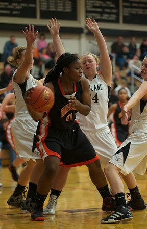 Janay Wright of DeKalb defends the ball during the Kaneland vs. DeKalb girls basketball game at Kaneland High School Tuesday, Dec. 18.