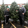 Bailey Swan and her dad, Gary Swan, at their Swan's Christmas Tree lot on Route 38 in St. Charles.
