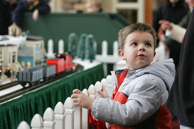 Monica Maschak - mmaschak@shawmedia.com Five-year-old Reid Byrdy glances back at his dad while watching the model trains go by on Kishwaukee Valley and Eakin Creek Model Railroad Club's holiday display layout at the Sun City Prairie Lodge in Huntley on Sunday, December 23, 2012. The model railroad display will be open to the public through December 28.