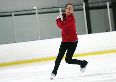 Monica Maschak - mmaschak@shawmedia.com Olivia Harris, 13, visiting from Boston, practices figure skating at the Crystal Ice House on Wednesday, December 26, 2012.  Harris is on a synchronized skating team back home.