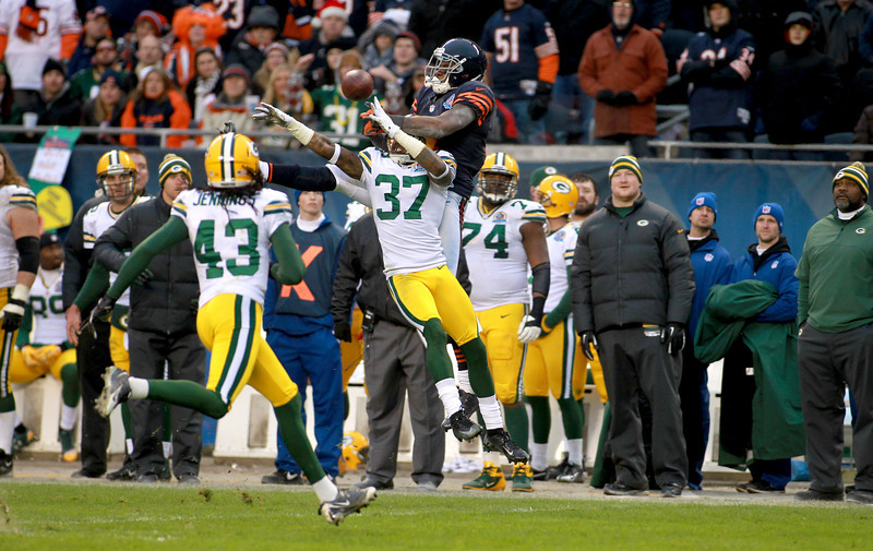 Sam Shields of the Green Bay Packers (37) breaks up a pass to Bears wide receiver Alshon Jeffery during the Bears' 21-13 loss to the Green Bay Packers at Soldier Field Sunday.(Sandy Bressner photo)