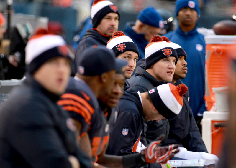 Bears quarterback Jay Cutler looks at the scoreboard in the fourth quarter of their 21-13 loss to the Green Bay Packers at Soldier Field Sunday.(Sandy Bressner photo)