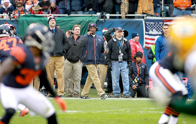 Chicago Bears Head Coach Lovie Smith watches from the sidelines in the first half of their 21-13 loss to the Green Bay Packers at Soldier Field Sunday.(Sandy Bressner photo)