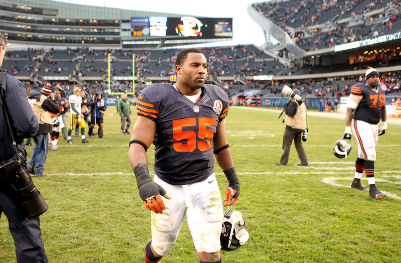 Bears linebacker Lance Briggs leaves the field following their 21-13 loss to the Green Bay Packers at Soldier Field Sunday.(Sandy Bressner photo)