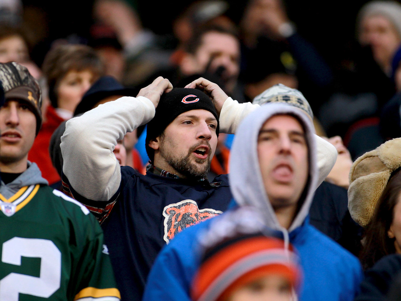 Disappointed Bears fans in the fourth quarter of their 21-13 loss to the Green Bay Packers at Soldier Field Sunday.(Sandy Bressner photo)