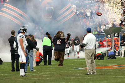 Monica Maschak - mmaschak@shawmedia.com The Bears' mascot Staley leads the team onto Soldier Field for a game against the Seattle Seahawks on Sunday, December 2, 2012.  The Seahawks won 21-17 in overtime.