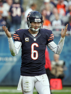 H. Rick Bamman - hbamman@shawmedia.com Jay Cutler gestures towards officials wondering when he can resume the play against Seattle late in the fourth quarter Sunday, December 2, 2012.