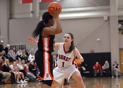 Benet Academy sophomore guard Morgan Thomalia (1) plays full-court defense during a semi-final game against DeKalb in the Naperville North/Benet Academy Girls Basketball Holiday Tournament at Benet Academy in Lisle on Thursday, Dec. 20, 2012. Matthew Piechalak — mpiechalak@shawmedia.com