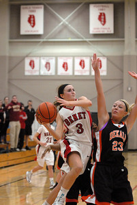Down 50-48 with 2.2 seconds remaining in the game, Benet Academy senior guard Christen Prasse (3) gets a good look at the basket during a semi-final game against DeKalb in the Naperville North/Benet Academy Girls Basketball Holiday Tournament at Benet Academy in Lisle on Thursday, Dec. 20, 2012. Her shot rimmed out. Matthew Piechalak — mpiechalak@shawmedia.com