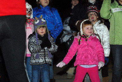 Four-year-olds Madison Newkirk, right, of Arlington Heights, and Teagan King, of Palatine, dance to the music during a DJ feature  presented by Radio Disney 1300 at Brookfield Zoo's Holiday Magic lights event on Saturday, Dec. 8, 2012. Staff photo by Matthew Piechalak