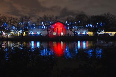Holiday lights reflect off the surface of a lagoon during the Holiday Magic event at Brookfield Zoo on Saturday, Dec. 8, 2012. Staff photo by Matthew Piechalak